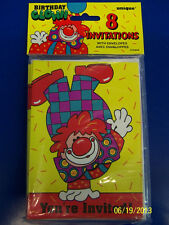 Birthday Clown Bozo Circus Carnival Yellow Kids Party Invitations w/Envelopes