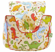 Cotton Red Dinosaur Bean Bag Arm Chair with Beans Toddler Size From BeanLazy