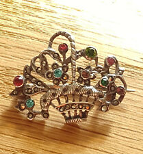 Edwardian Silver Paste & Marcasite Set Basket Brooch