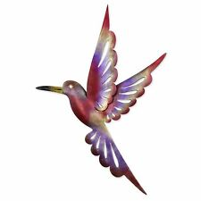 Iron Wall Sculpture Metal Art 15 inch Handmade 'Rosy Hummingbird' NOVICA Mexico