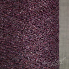 100% PURE CASHMERE YARN 100g CONE PURPLE MELANGE HAND & MACHINE KNIT LACEWEIGHT
