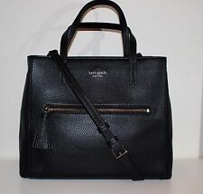 kate spade spencer court tera leather satchel  tote crossbody shoulder bag black