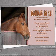 Personalised Horse Riding Stables Birthday Party Invitations x 12 + envs H0044
