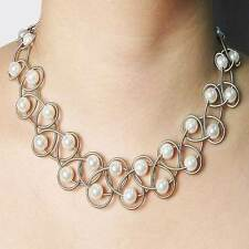 STUNNING LUSTROUS WHITE FRESH  WATER PEARL SILVER PIANO WIRE NETTING NECKLACE