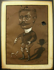 Marcel Pic 1886 Caricature d'Ernest Belay & son chien accidents dessin au fusain