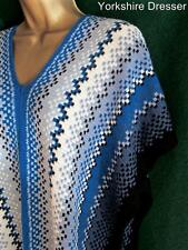 New MISSONI Blue White Black Wool Knit KAFTAN Boho Cover-up Poncho Top AUTHENTIC
