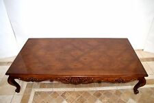 Large solid Carved Walnut parquet Coffee Table  French Provincial by Henredon