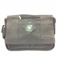 Pangea Brand NHL Edmonton Oilers  Black Leather Laptop Messenger bag