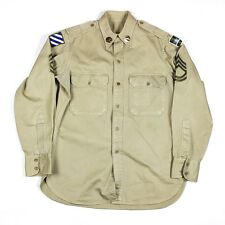 ORIGINAL WWII US ARMY KHAKI COTTON SHIRT - 80TH 3RD INFANTRY DIVISION S/SGT