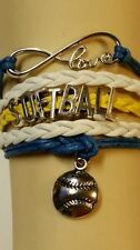SOFTBALL LEATHER CHARM BRACELET SILVER-ADJUSTABLE-YELLOW/BLUE/WHITE-SPORTS-#141