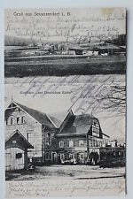 17194 tolle AK Gruß aus Schanzendorf in Böhmen Gasthof Zur Deutschen Eiche 1913