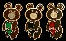 Olympic Pin Badge~Lot~Set of 3~Moscow~1980~Russian~Misha~Bear~gold tone~Vintage!