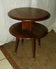 Solid Walnut Round 2 Tier End Table / Side Table  (T133)