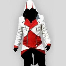 White + Red  L Stylish Creed Hoodie Mens Cosplay Assassins Jacket Coat Costume