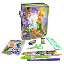 Disney Store TINKER BELL FAIRIES 30PC Zip-Up Stationery School Supply Kit Case