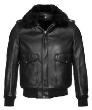 Men's A2 Bomber Pilot Police Jacket 100% Real Lamb Leather, Removable Fur Collar