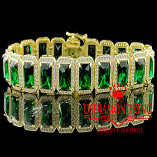 14K Yellow Gold On Sterling Silver Royal Lab Diamond Green Emerald Bracelet 7.5""