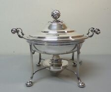 CRICHTON BROS. LONDON SILVER PLATE COVERED ENTREE DISH on WARMING STAND, c. 1900
