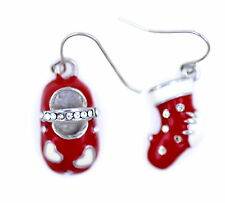Festive mismatched red white enamel shoe and stocking earrings.  Great xmas gear