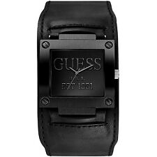 GUESS MEN'S WIDE CUFF STAINLESS BLACK ION  WATCH, W0418G3 NEW/TAGS/SACK. GIFT ID