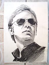 A4 Charcoal Sketch Drawing David Caruso as CSI Horatio Caine