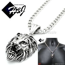 "20""MEN Stainless Steel 6mm Silver Cuban Curb Chain Necklace LION Pendant*P50"