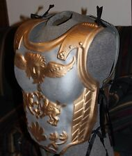 ROMAN SOLDIER GLADIATOR GOLD ARMOR CHEST CAPE RED PLUMES COSTUME SPARTAN WARRIOR