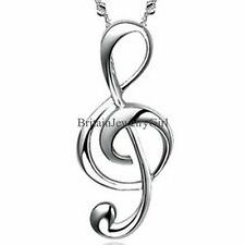 Ladies Silver Tone Treble G Clef Music Note Pendant Women's Charm Chain Necklace