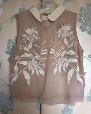*NEW*TOPSHOP Pink Nude White Floral Collar Sleeveless Sheer Top Blouse - Size 10