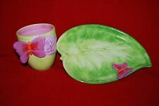 Maisons Du Monde Butterfly Plate Cup Leaf Green Washed Glaze Free Shipping