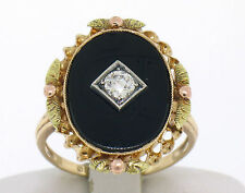 Antique Edwardian 10k Tri Color Gold Onyx 0.18ct Old European Cut Diamond Ring