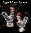 """Stunning unique Crystal Chicken ROOSTER Figurine almost 5"""" tall"""