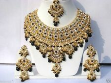 Indian ASHWAIRIYA'S GLAMOUR JODHA AKBAR Black BRIDAL JEWELRY SET WITH TIKKA