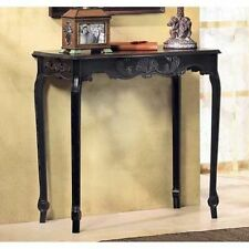 FRENCH  SCALLOP DETAIL DISTRESSED BLACK HALL SIDE CONSOLE TABLE WOOD~35177