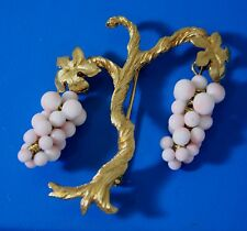Vintage Grape Bunch Faux Coral Glass Gold Tone Tree Brooch Pin