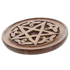 Carved Pentagram Round Wooden Incense Stick Burner Holder Ash Catcher