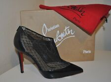 Christian Louboutin Filette Patent-Fishnet Mesh Ankle Bootie BLACK Heel Boots 38