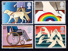 UK 1981 MNH 4v, Disabled, Handicaps, Wheel Chair, Painting, Rainbow -