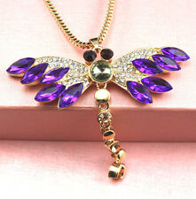 New Fashion Europe Style purple crystal dragonfly necklace Christmas gift k429