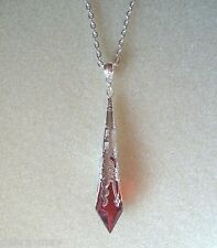 Victorian Steampunk Red Teardrop Silver Filigree Pendant Gothic Chain Necklace