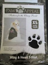 NEW PAW APPEAL DOG/PUPPY PET FASHION BLACK CROWN WING & HEART T-SHIRT SIZE XS