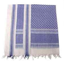 KEFIAH Shemagh Scarf BLUE WHITE fringed BIANCO BLU SCIARPA SOFTAIR airsoft