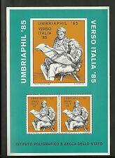 FOGLIETTO ERINNOFILO IPZS 1985 VERSO ITALIA '85 UMBRIAPHIL NUOVO MNH** PERUGIA