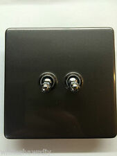 Screwess Pewter Effect Varilight Twin Light 2 Gang 2 Way 10 Amp Toggle Switch