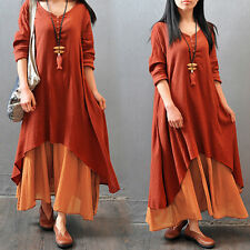 Women Peasant Ethnic Boho Cotton Linen Long Sleeve Shirt Gypsy Blouse Maxi Dress