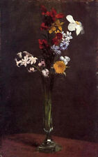 Oil painting Henri Fantin Latour - Flowers Narcisses Hyacinths and Nasturtiums