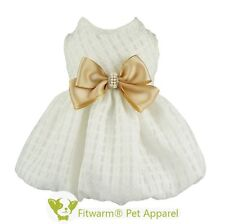 "Fitwarm 16""Chest Elegant Bowknot Dog Dress Medium Pet Clothes Wedding Coat Girl"
