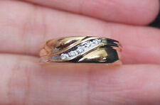 New Zales 10K Sz 10.5 Diamond Men's Slant Wedding Band Ring Yellow Gold