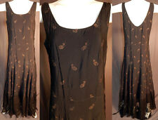 Vintage 1930s Black Silk Gold Lamé Lame Acorn Chantilly Lace Bias Cut Gown Dress