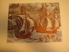 Caravels II, Engraving 16th Century, Lithograph Reproduction